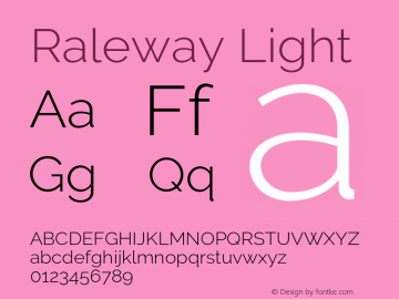 Raleway Light Version 3.000 Font Sample