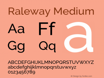 Raleway Medium Version 3.000 Font Sample