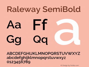 Raleway SemiBold Version 3.000 Font Sample
