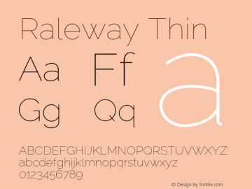 Raleway Thin Version 3.000 Font Sample
