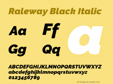Raleway Black Italic Version 3.000 Font Sample