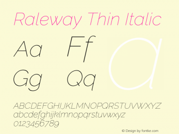 Raleway Thin Italic Version 3.000 Font Sample