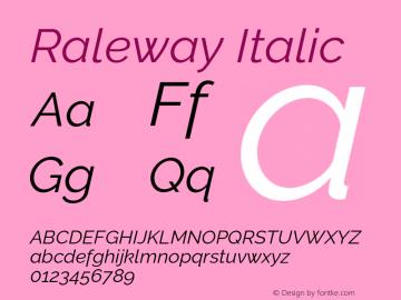 Raleway Italic Version 3.000 Font Sample