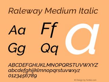 Raleway Medium Italic Version 3.000 Font Sample