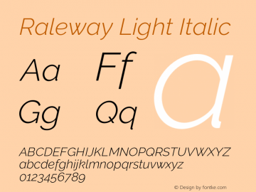 Raleway Light Italic Version 3.000 Font Sample