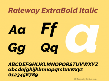 Raleway ExtraBold Italic Version 3.000 Font Sample