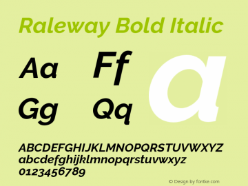 Raleway Bold Italic Version 3.000 Font Sample