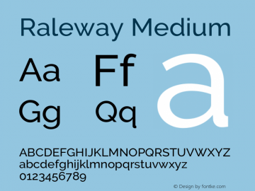 Raleway Medium Version 3.000; ttfautohint (v0.96) -l 8 -r 28 -G 28 -x 14 -w