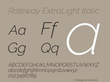 Raleway ExtraLight Italic Version 3.000; ttfautohint (v0.96) -l 8 -r 28 -G 28 -x 14 -w