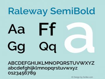 Raleway SemiBold Version 3.000; ttfautohint (v0.96) -l 8 -r 28 -G 28 -x 14 -w