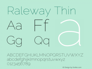 Raleway Thin Version 3.000; ttfautohint (v0.96) -l 8 -r 28 -G 28 -x 14 -w