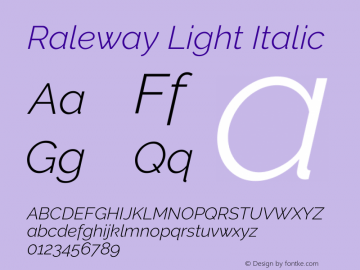 Raleway Light Italic Version 3.000; ttfautohint (v0.96) -l 8 -r 28 -G 28 -x 14 -w