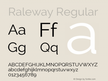 Raleway Regular Version 2.001; ttfautohint (v0.8) -G 200 -r 50 Font Sample