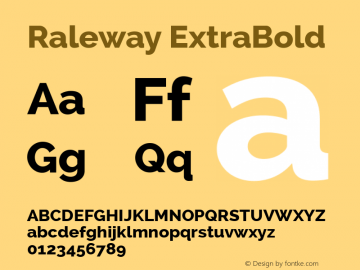 Raleway ExtraBold Version 2.001; ttfautohint (v0.8) -G 200 -r 50 Font Sample