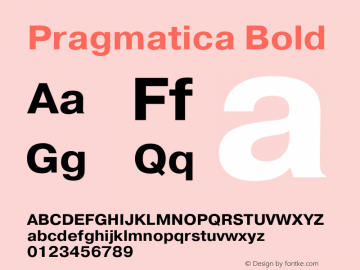 Pragmatica Bold Version 2.000 Font Sample