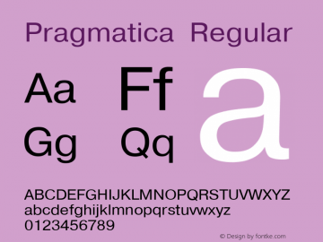 Pragmatica Regular Converted from c:\windows\system\PRG55___.TF1 by ALLTYPE Font Sample