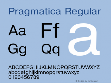 Pragmatica Regular Converted from L:\SRS\TTF\COLLECT\P1_HNT.TF1 by ALLTYPE Font Sample