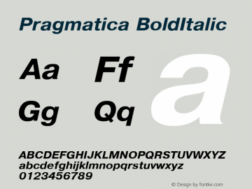 Pragmatica BoldItalic Converted from d:\win\system\P03_HNT.TF1 by ALLTYPE Font Sample