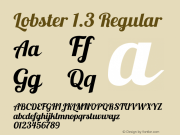 Lobster 1.3 Regular Version 1.003 2010 Font Sample
