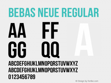 Bebas Neue Regular Version 1.000 Font Sample