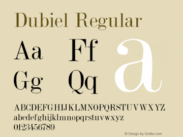 Dubiel Regular Converted from F:\Y\DUBIEL.TF1 by ALLTYPE Font Sample