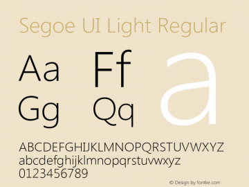 Segoe UI Light Regular Version 5.00 Font Sample