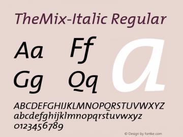 TheMix-Italic Regular Altsys Metamorphosis:6/15/00 Font Sample