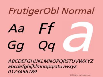 FrutigerObl Normal 001.000 Font Sample