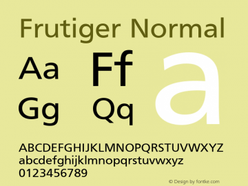 Frutiger Normal 001.000 Font Sample