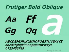 Frutiger Bold Oblique 001.000 Font Sample