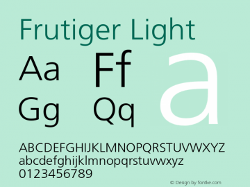 Frutiger Light 001.000 Font Sample