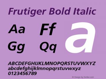Frutiger Bold Italic 001.000 Font Sample
