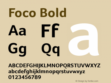 Foco Bold Version 1.100 Font Sample