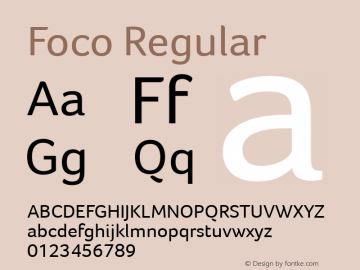 Foco Regular Version 1.100 Font Sample
