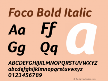 Foco Bold Italic Version 1.000 Font Sample
