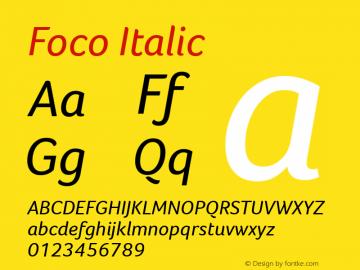 Foco Italic Version 1.000 Font Sample