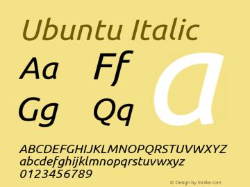 Ubuntu Italic Version 0.69 Font Sample