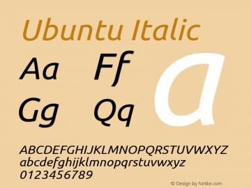 Ubuntu Italic Version 0.68 Font Sample