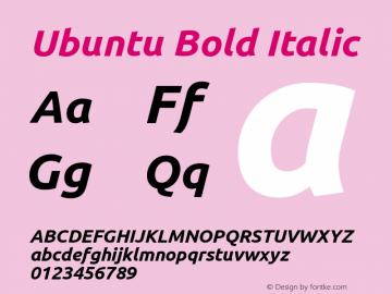 Ubuntu Bold Italic Version 0.68 Font Sample