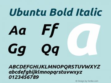 Ubuntu Bold Italic Version 0.70 Font Sample