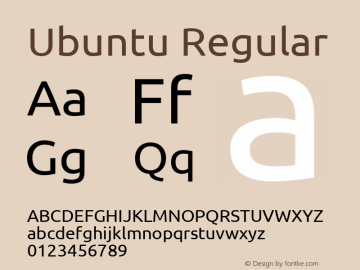 Ubuntu Regular Version 0.70 Font Sample