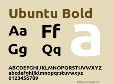 Ubuntu Bold Version 0.70 Font Sample