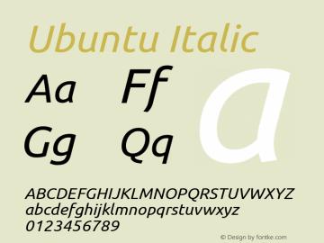 Ubuntu Italic Version 0.70 Font Sample