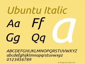 Ubuntu Italic Version 0.71 Font Sample