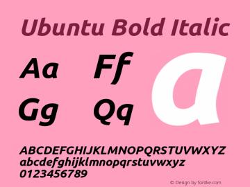 Ubuntu Bold Italic Version 0.71 Font Sample