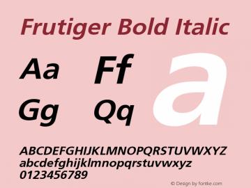 Frutiger Bold Italic 1.1 Font Sample