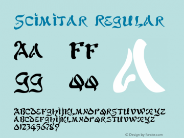 Scimitar Regular The IMSI MasterFonts Collection, tm 1995, 1996 IMSI (International Microcomputer Software Inc.) Font Sample