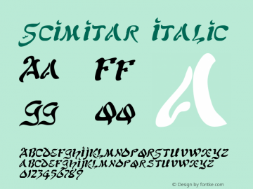 Scimitar Italic The IMSI MasterFonts Collection, tm 1995, 1996 IMSI (International Microcomputer Software Inc.) Font Sample