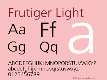 Frutiger Light 001.002 Font Sample