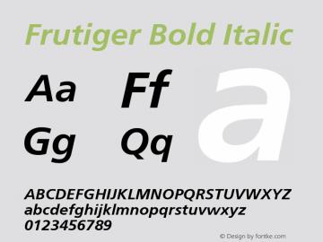 Frutiger Bold Italic 001.002 Font Sample